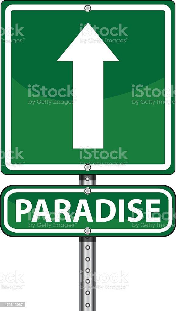 Green Road Sign | Paradise royalty-free stock vector art
