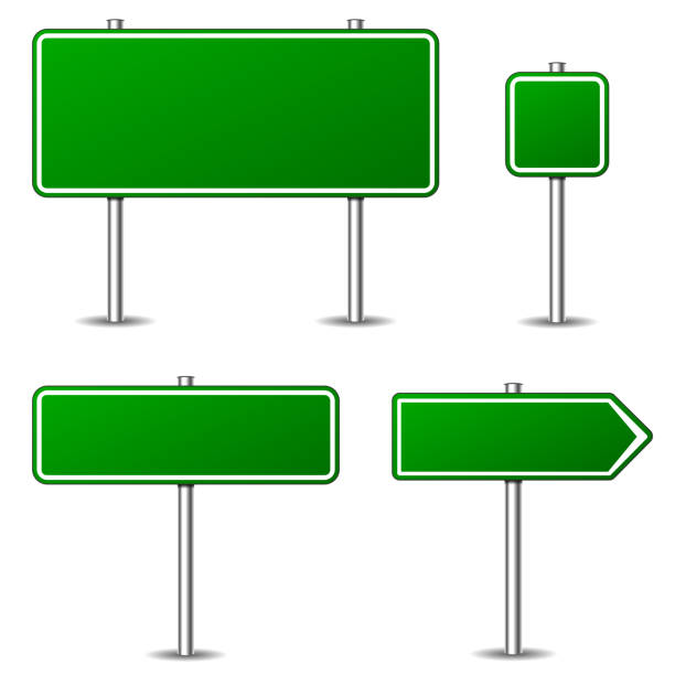 green road signs on white background Illustration of green road signs on white background directional sign stock illustrations