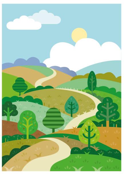 Green rolling hills and road illustration vector art illustration