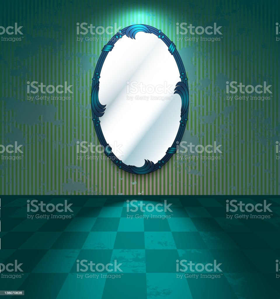 Green room with mirror royalty-free stock vector art