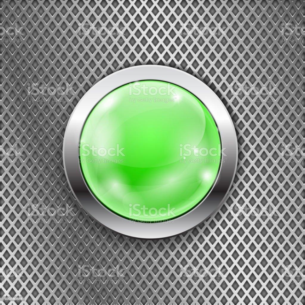 Ilustración De Botón Verde Redonda De Vidrio Con Estructura