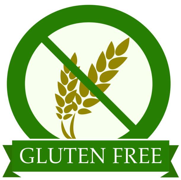 ilustraciones, imágenes clip art, dibujos animados e iconos de stock de gluten ronda verde gratis icono vector ilustración - sin gluten