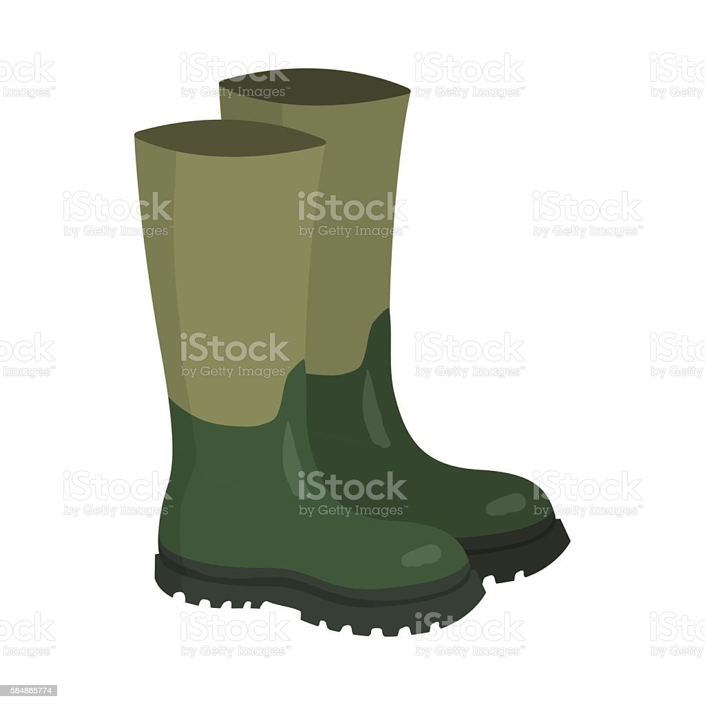 Green rubber hunters and fisherman high boots vector art illustration