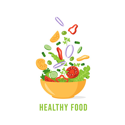 Green salad of fresh vegetables. The concept of organic healthy eating. Tomato, cucumber, lettuce, parsley, olives, onions, bell pepper. Vector illustration in flat style.