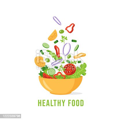 istock Green salad of fresh vegetables. The concept of organic healthy eating. Tomato, cucumber, lettuce, parsley, olives, onions, bell pepper. Vector illustration in flat style. 1222339798