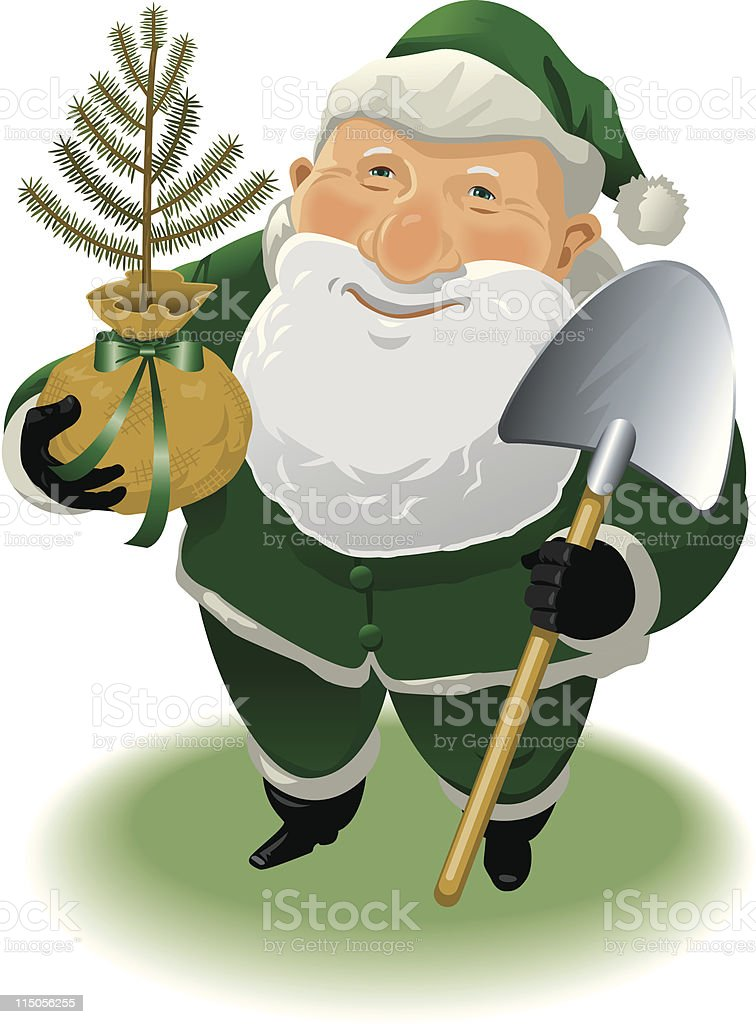 Green Santa royalty-free stock vector art