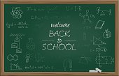 Vector green school blackboard with chalk WELCOME BACK TO SCHOOL text and different school symbols.