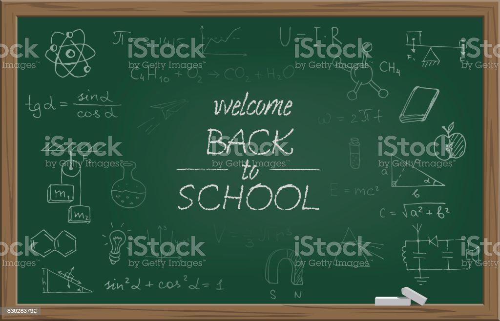 Green school blackboard with chalk WELCOME BACK TO SCHOOL text and different school symbols. Vector illustration. vector art illustration