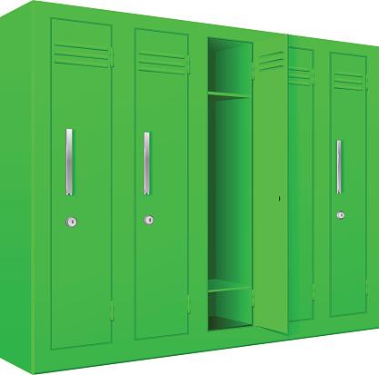Green School Lockers With Open Door Stock Illustration Download Image Now Istock