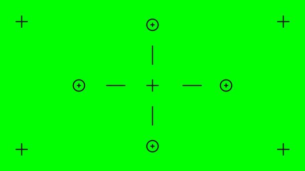 stockillustraties, clipart, cartoons en iconen met groen scherm, chromakey achtergrond. lege groene achtergrond met vfx bewegingstrackingmarkeringen. chroma-achtergrond voor keying- en bewegingsgrafisch- en video-effecten - green screen