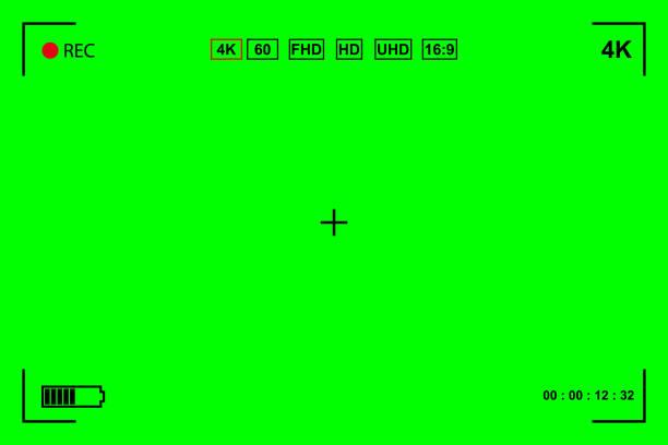 stockillustraties, clipart, cartoons en iconen met groen scherm, chromakey achtergrond. lege groene achtergrond met vfx motion tracking markers. scherm van moderne digitale camcorders. chroma-toetsenbord voor toetsenborden, afbeeldingen en video-effecten - green screen