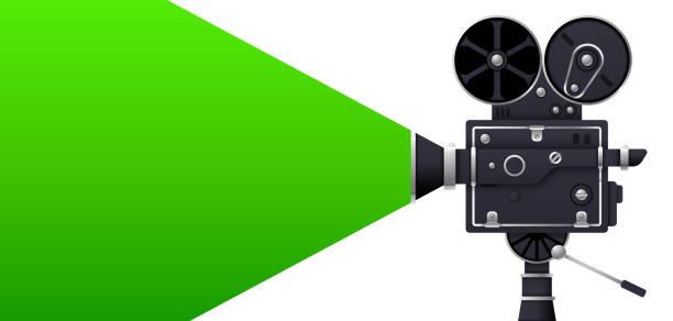 stockillustraties, clipart, cartoons en iconen met groen scherm filmcamera - green screen