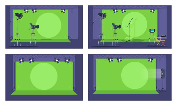 stockillustraties, clipart, cartoons en iconen met groen scherm semi-platte vectorillustratie reeks - green screen