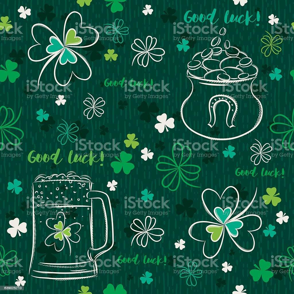 Green  seamless background for Patricks day with beer mug, pot vector art illustration