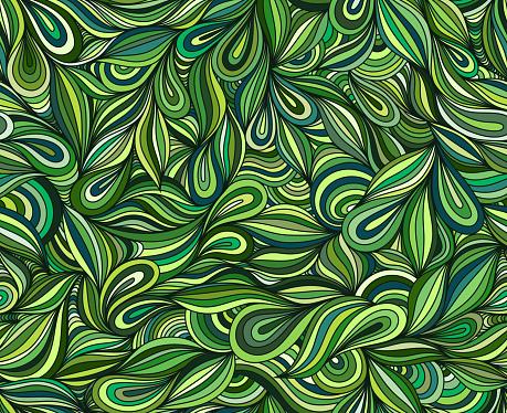Green seamless doodle