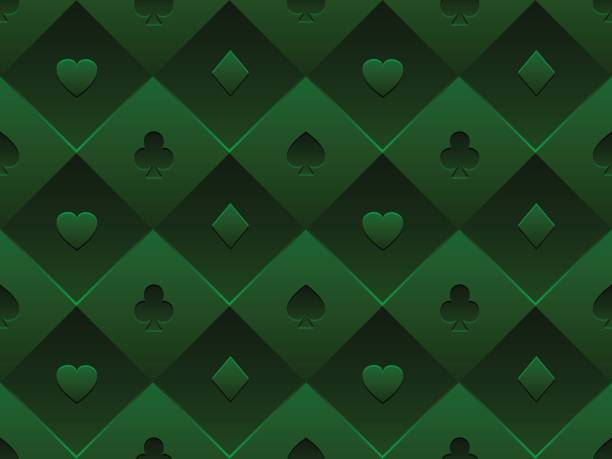Green seamless pattern fabric poker table. Minimalistic casino vector 3d background with texture composed from volume card symbol Casino poker background cartable stock illustrations