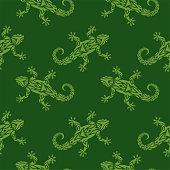 Beautiful green seamless pattern with stylized flat lizard silhouette