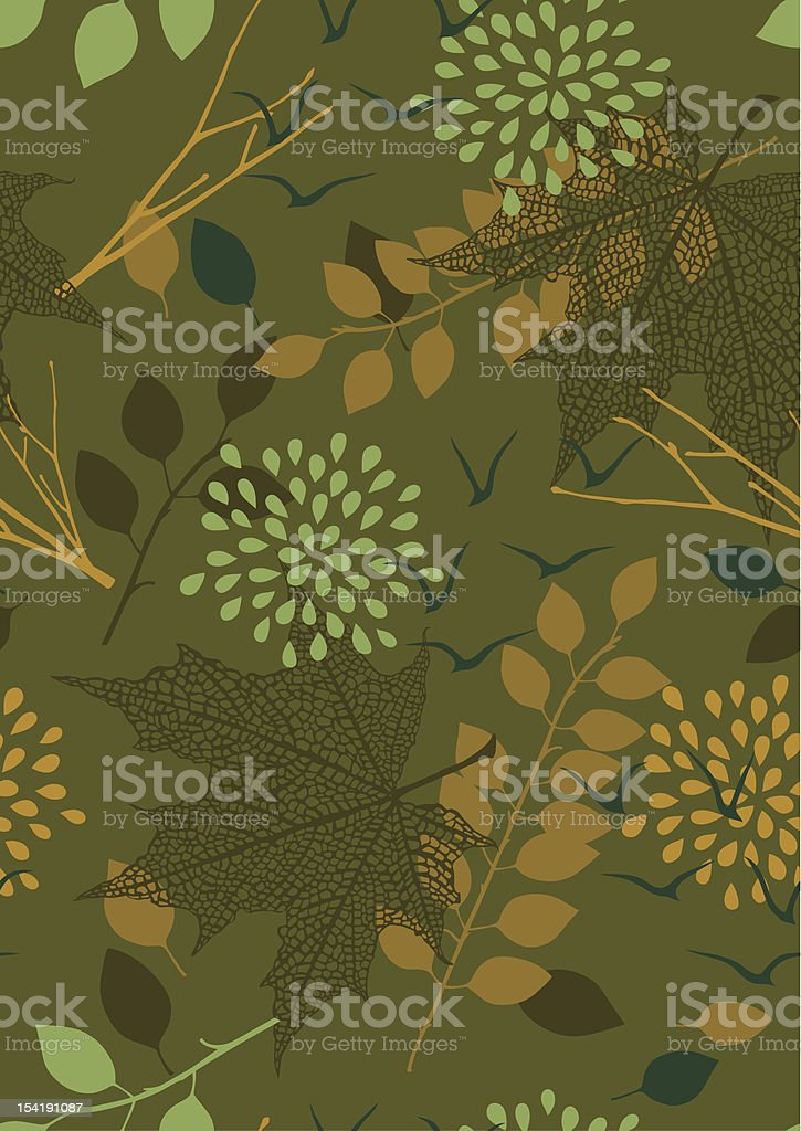 Green Seamless Pattern with Leaves royalty-free stock vector art