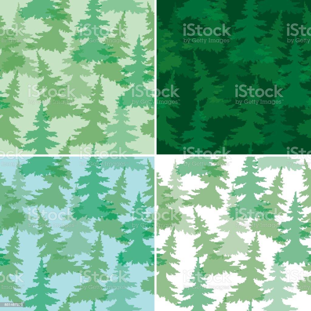 green seamless patterns with fir trees - vector vector art illustration