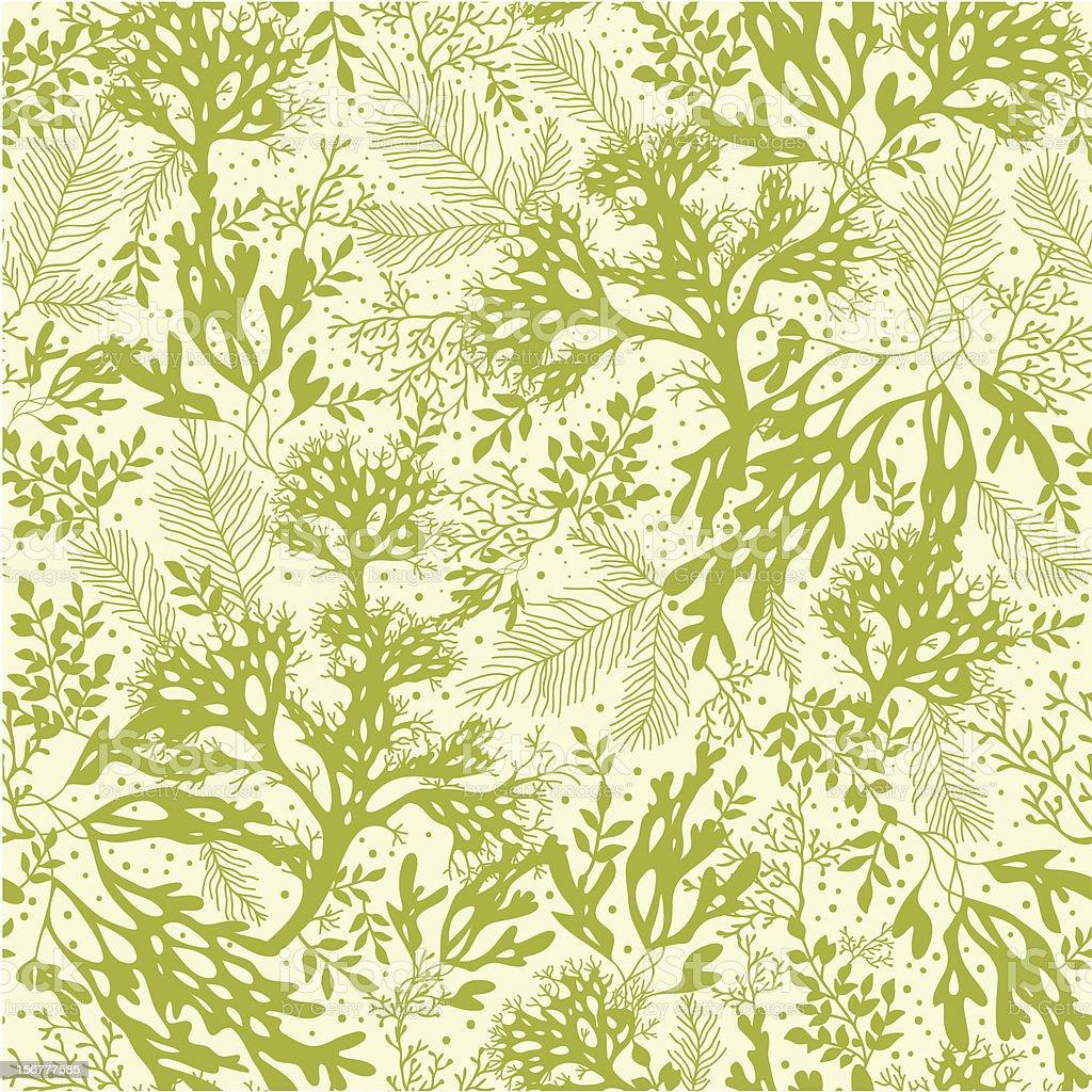 Green Seaweed Seamless Pattern Background vector art illustration