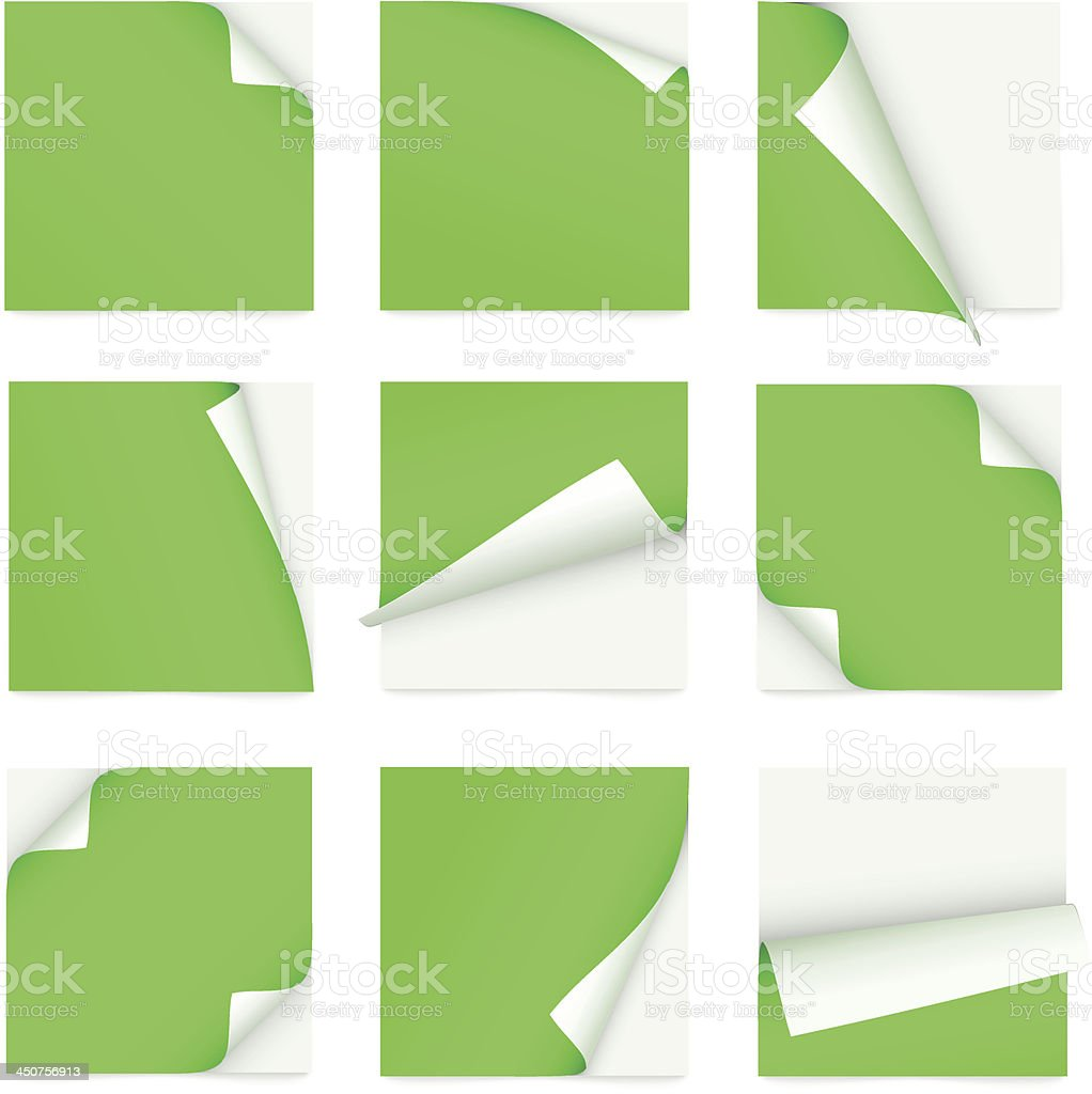 green set of note paper with curled corner royalty-free stock vector art