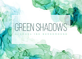 Green shades watercolor background, wet liquid, hand drawn vector watercolor texture