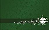 Green background with white shamrock swirl designs. Horizontal format.