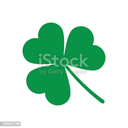 istock Green Shamrock leave icon isolated 846062788