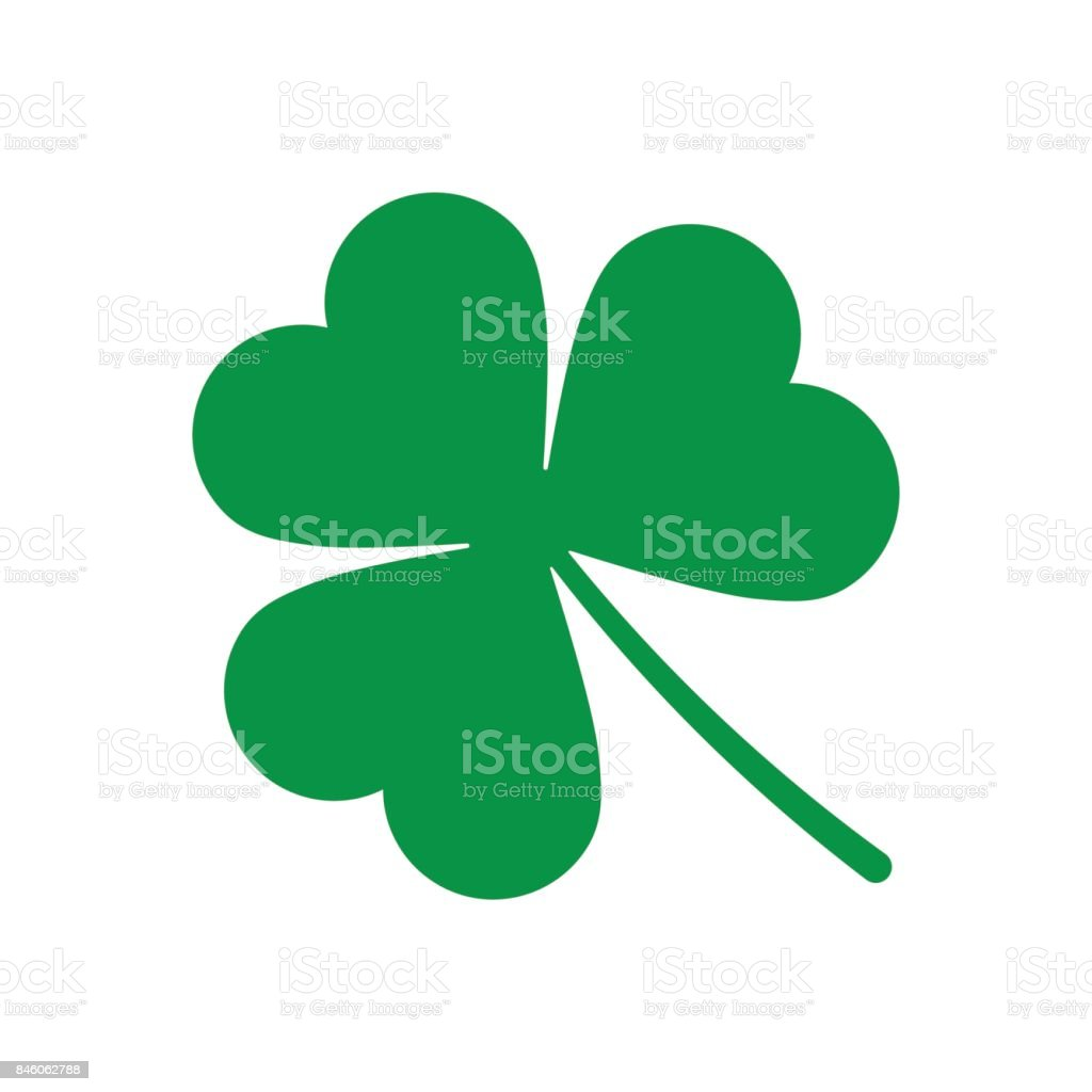 Green Shamrock leave icon isolated vector art illustration
