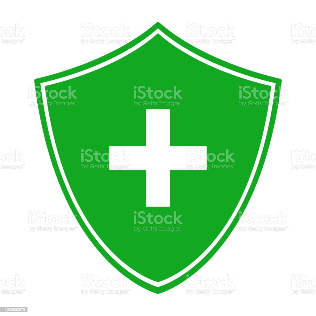 Green Shield And White Cross Antibacterial Symbol Vector Icon Stock
