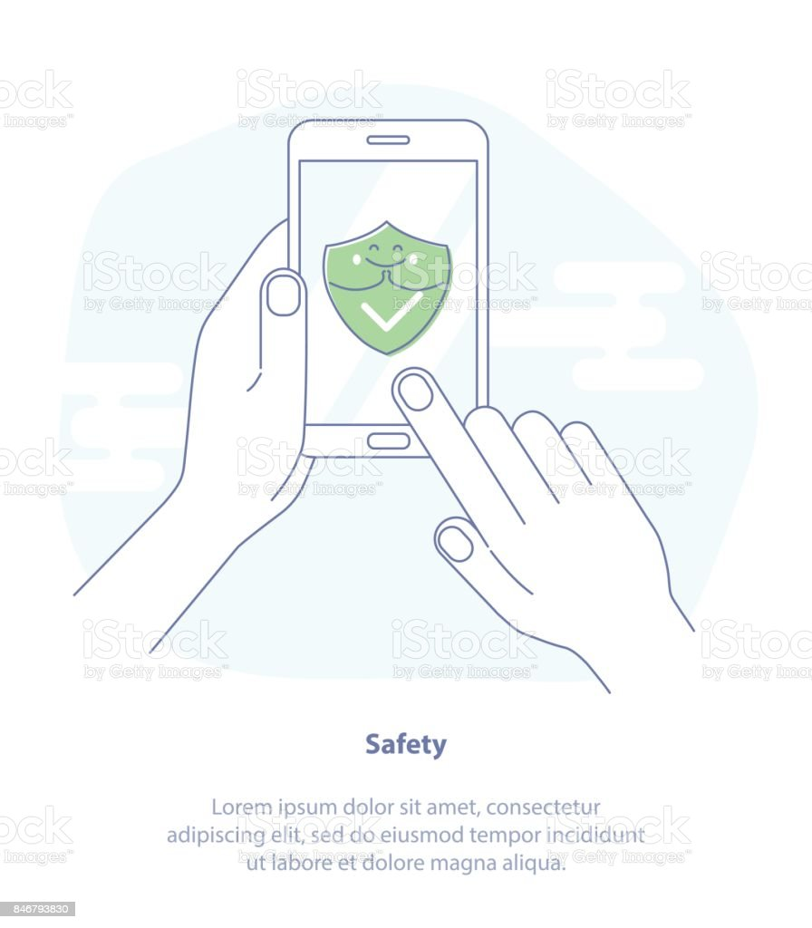 Green Shield On Smartphone Screen Symbol Of Protection Safety