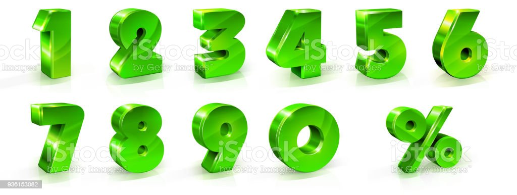 Green shiny numbers and percent sign set. 3d styled illustration vector art illustration