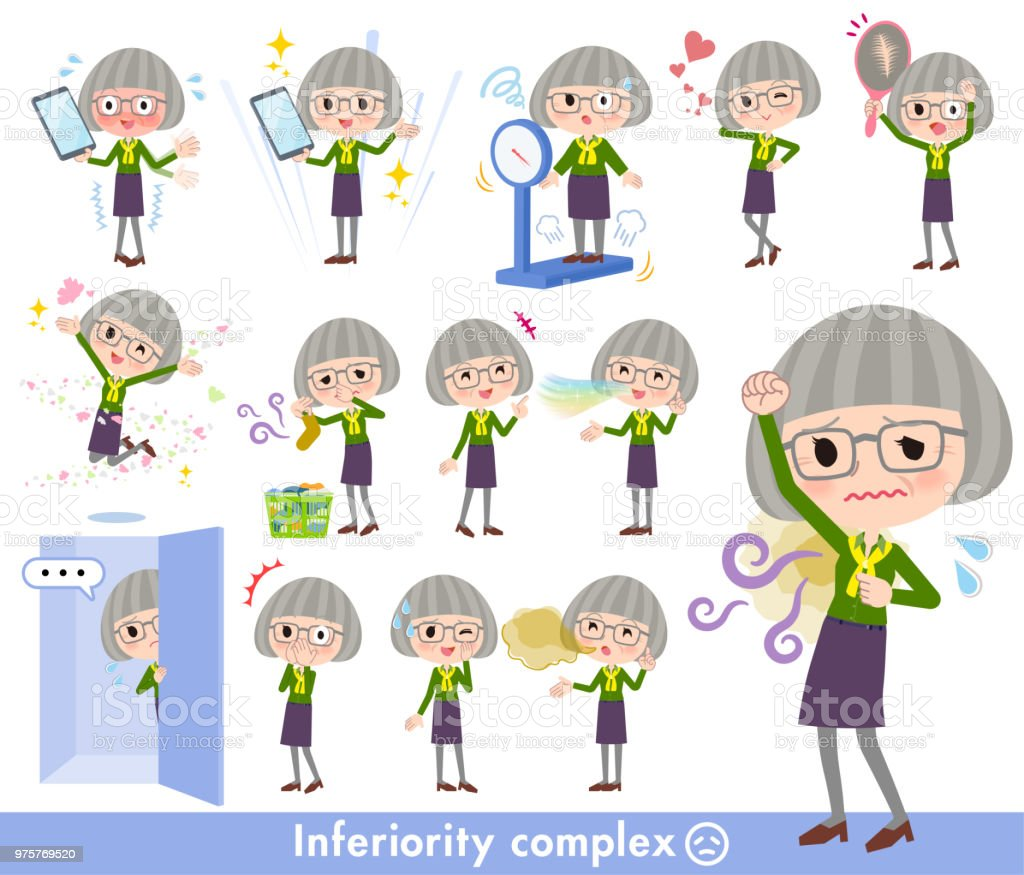 green shirt old women_complex vector art illustration