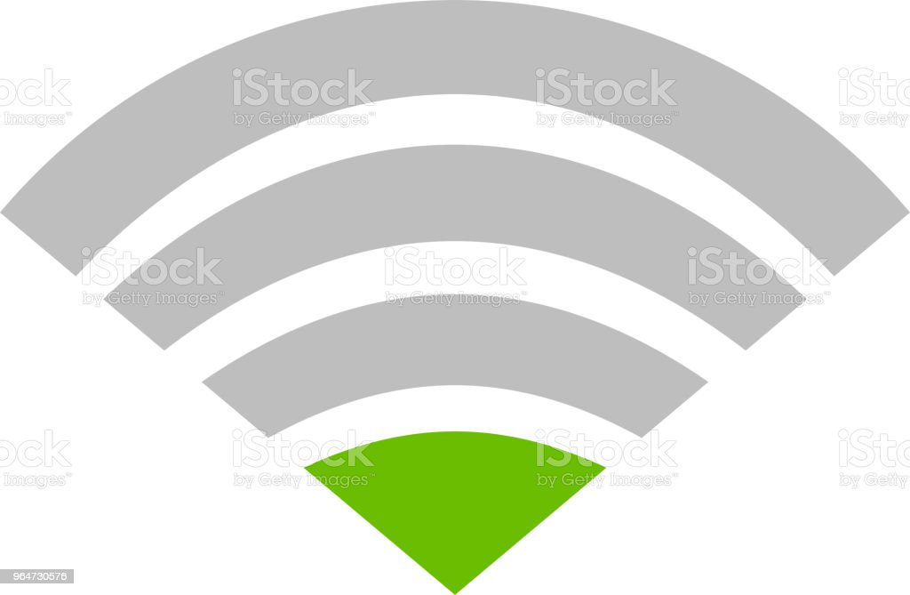 Green Signal icon of radio wave status 1 vector art illustration