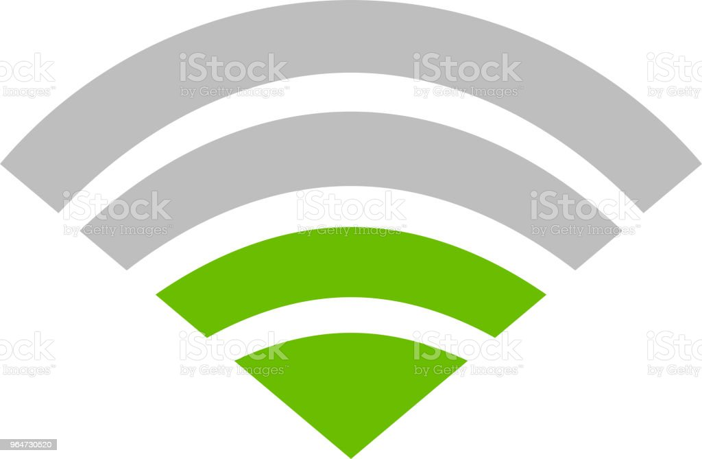 Green Signal icon of radio wave status 2 vector art illustration