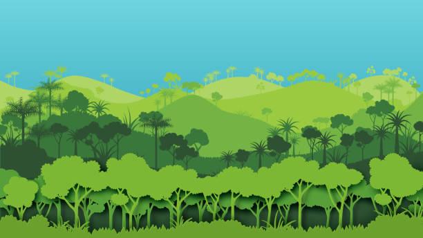 Green silhouette forest landscape background. vector art illustration