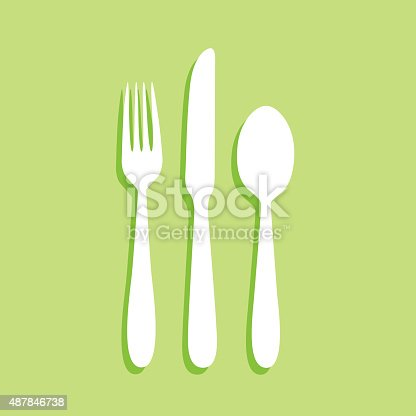 Vector illustration of a white fork, knife and spoon with shadow on a green square background.