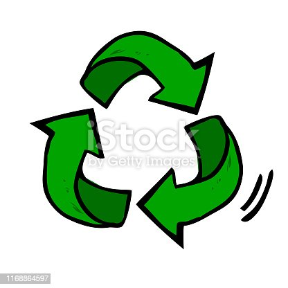 istock Green Simple Vector Symbol, Recycle, at white background 1168864597