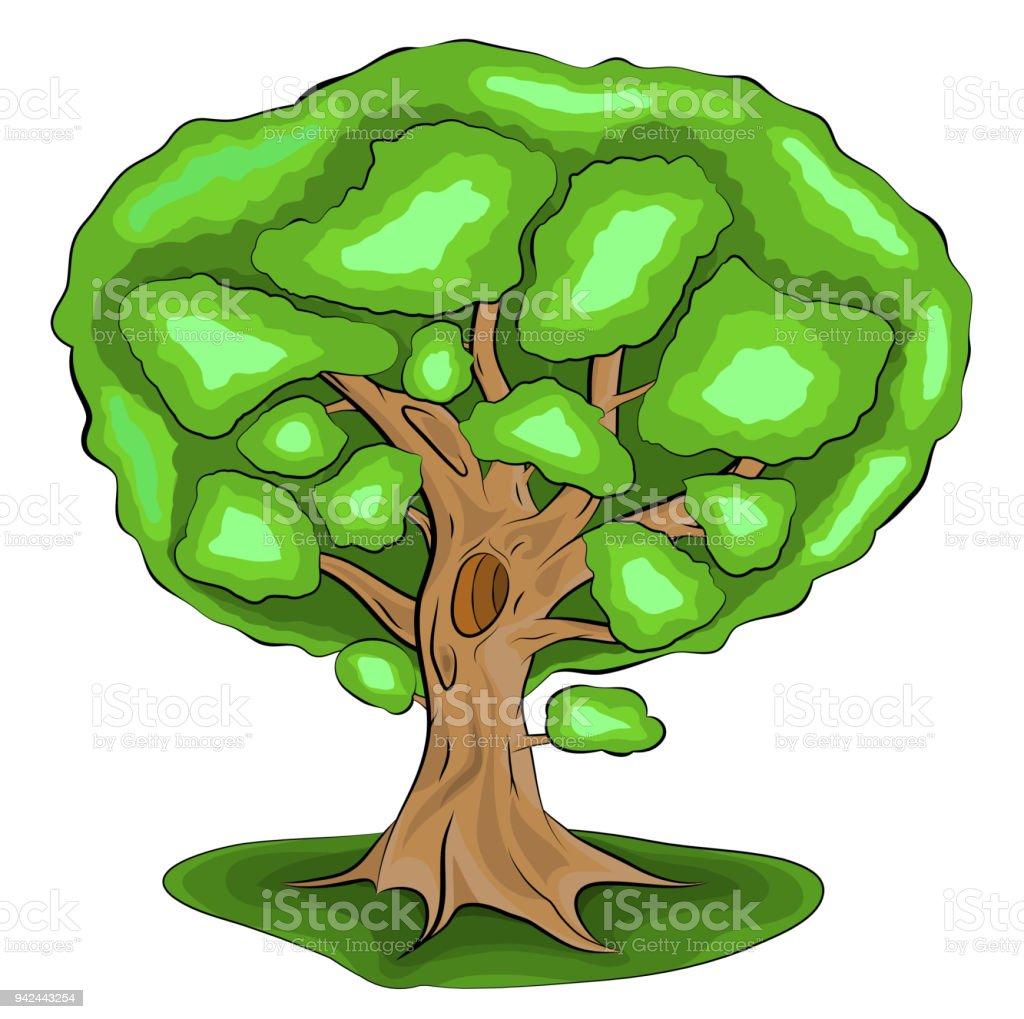 Ilustración De árbol Con Hojas Verdes Vector Ilustración En Versión