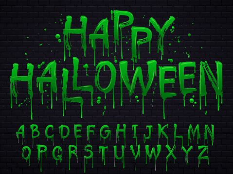 Green slime font. Halloween toxic waste letters, scary horror greens goo sign and splash liquid slimes vector isolated set