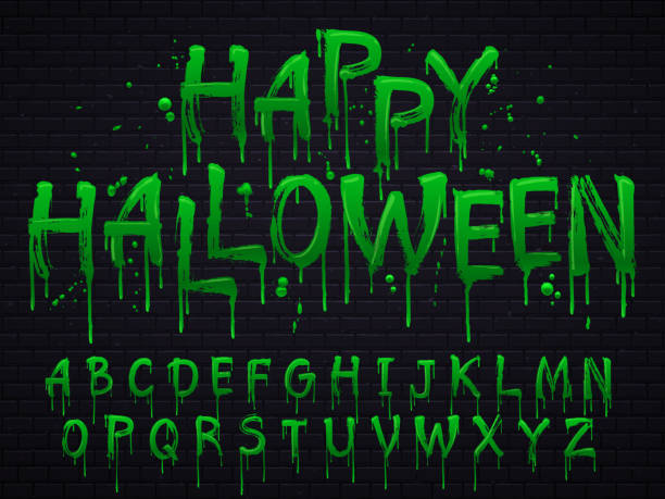 green slime font. halloween toxic waste letters, scary horror greens goo sign and splash liquid slimes vector isolated set - halloween candy stock illustrations