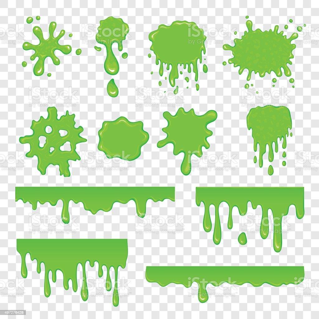Green slime set vector art illustration