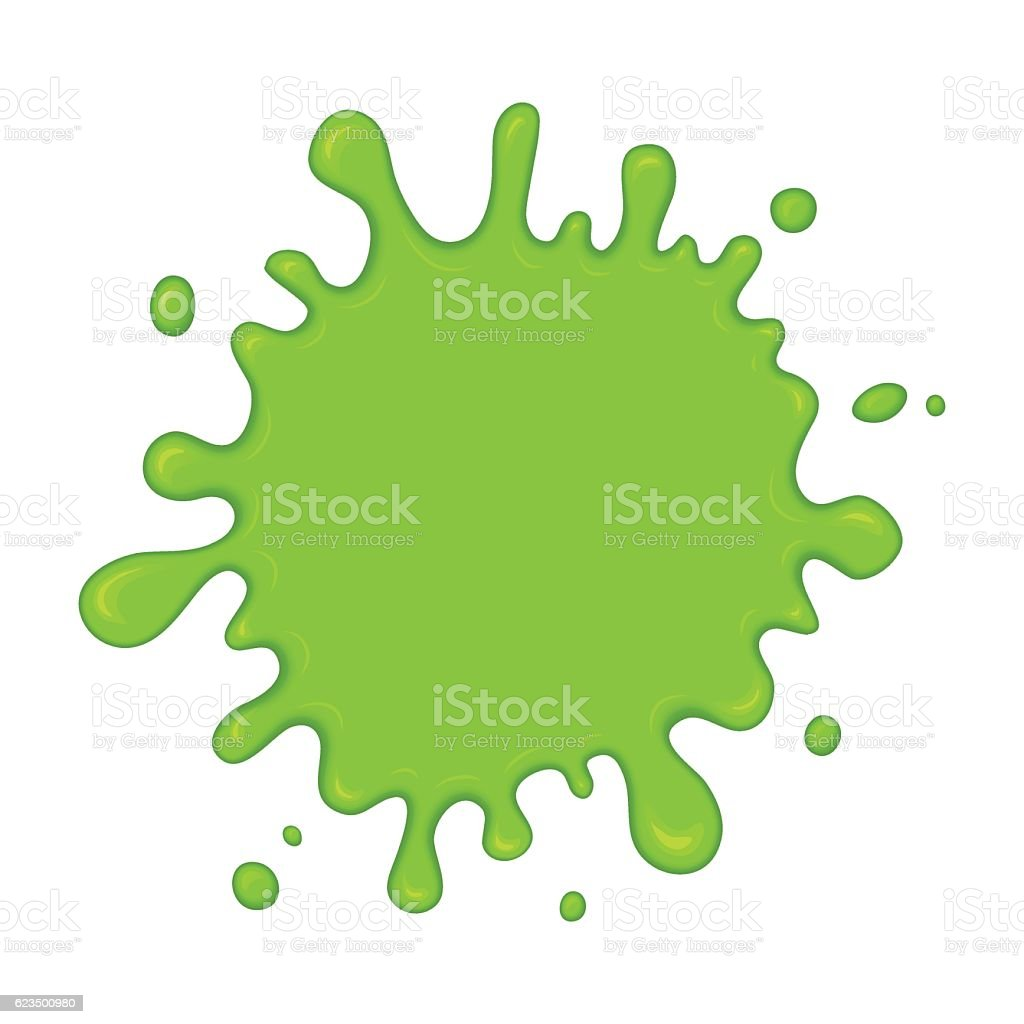 Green slime splash blot vector art illustration