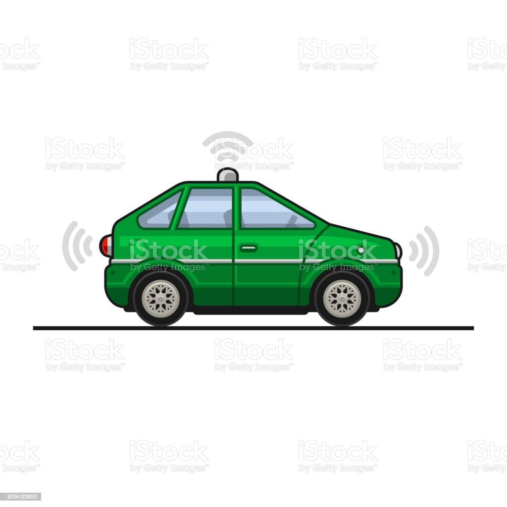 Green Smart Car Icon with Sensors and Radar. Vector vector art illustration