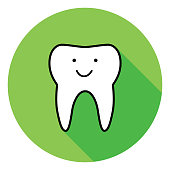 istock Green Smiling Tooth Icon 1248603568