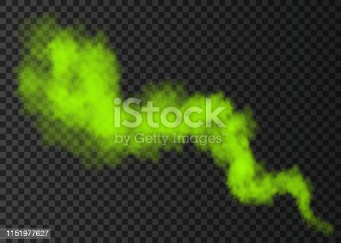 Green smoke burst  isolated on transparent background.  Color steam explosion special effect.  Realistic  vector  column of  fire fog or mist texture .
