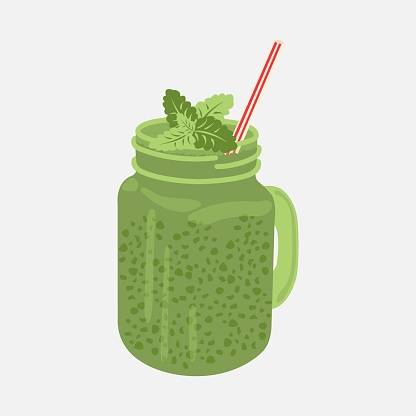 green smoothies with straws and mint leaves