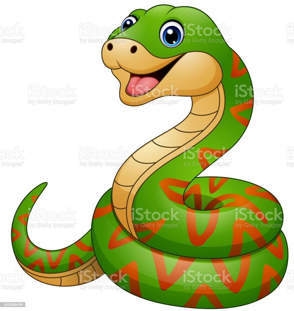 Green snake cartoon vector art illustration
