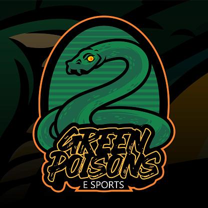 Green snake hand drawn illustration with green color for sticker, wallpaper, emblem, logo or t-shirt. Green snake illustration isolated on dark background