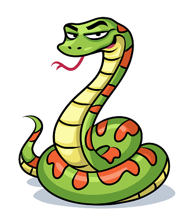 Vector illustration of a smirking green snake with its tongue out, looking at the camera, isolated on white.